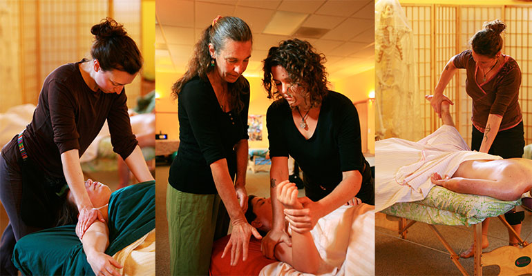 Massage Technique Demonstrations Montage at Ashland Institute of Massage (AIM)
